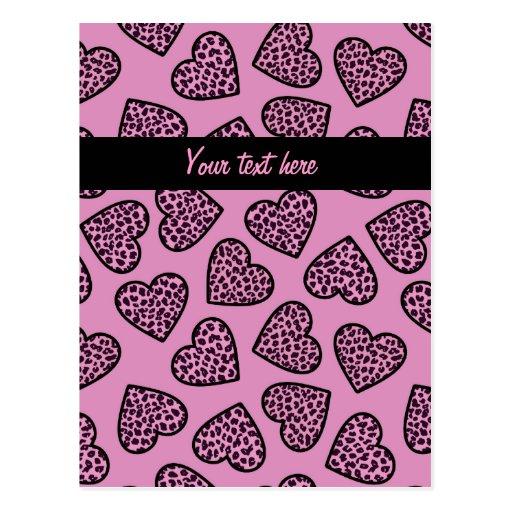Cheetah hearts Design Postcard Post Card