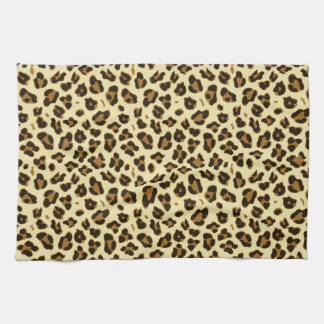 Cheetah Leopard Print Black Brown Spots Pattern Tea Towel