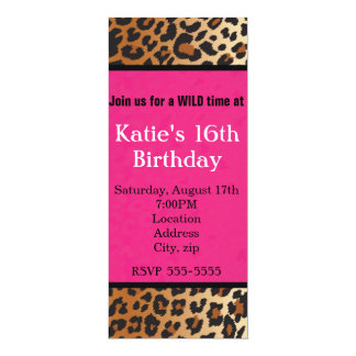 Cheetah Leopard Print Hot Pink Party Invitation