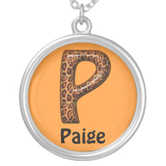 Cheetah Letter P Necklace~Customize Name Silver Plated Necklace