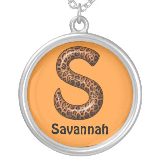 Cheetah Letter S Necklace~Customize Name Silver Plated Necklace