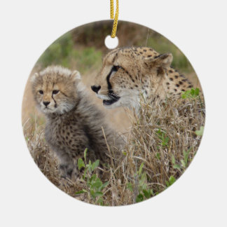 Cheetah Mom and Cub Christmas Ornament