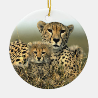 Cheetah Mom and Cub Ornament