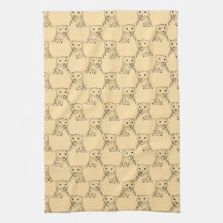 Cheetah Pattern on Beige. Tea Towel