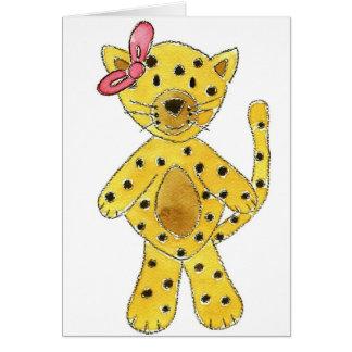 Cheetah Pink Bow Greeting Card
