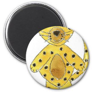 Cheetah Pink Bow 6 Cm Round Magnet