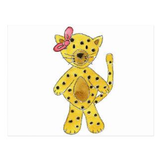 Cheetah Pink Bow Postcard