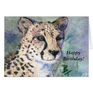 Cheetah Portrait aceo Birthday Card