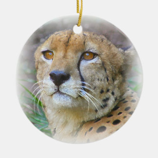 Cheetah portrait christmas ornament