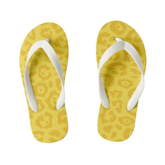 Cheetah Print Gold Flip Flops
