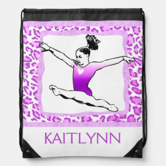 Cheetah Print Gymnastics in Purple w/ Monogram Drawstring Bag