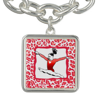 Cheetah Print Gymnastics in Red Charm Bracelet