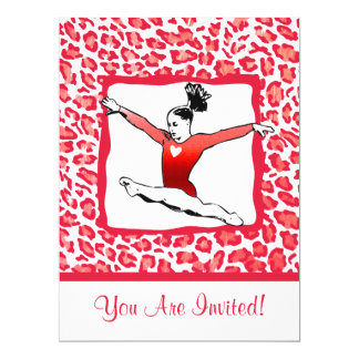 Cheetah Print Gymnastics in Red Invitations