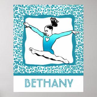 Cheetah Print Gymnastics in Turquoise w/ Monogram