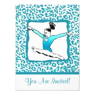 "Cheetah Print Gymnastics - turquoise Invitation 6.5"" X 8.75"" Invitation Card"