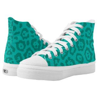 Cheetah Print Light Teal Printed Shoes