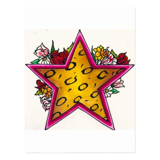 Cheetah Print Star with Floral Bouquet Post Cards