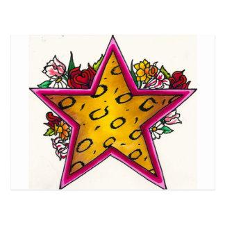 Cheetah Print Star with Floral Bouquet Postcard