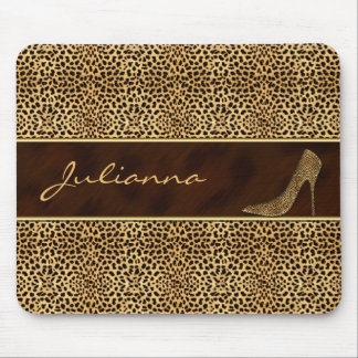 Cheetah Print with a Stiletto Heel Mouse Mat