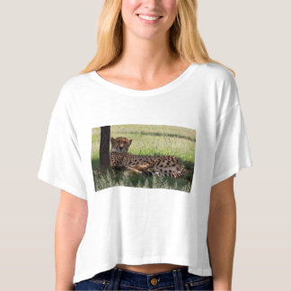 Cheetah Relaxing - Women's Boxy Crop T-Shirt/Top T-Shirt