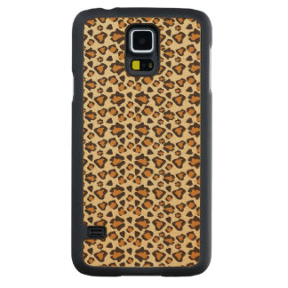 Cheetah skin pattern carved maple galaxy s5 case