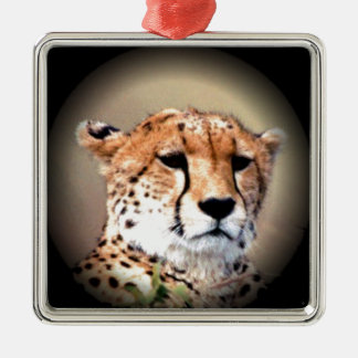 Cheetah Tear Marks Hakunamatata Square Metal Christmas Ornament