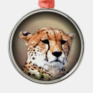 Cheetah Tear Marks Hakunamatata Round Metal Christmas Ornament