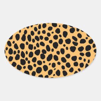 Cheetah Texture Oval Sticker