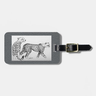 Cheetahs Fine Art Grey Faux Leather Bag Tag