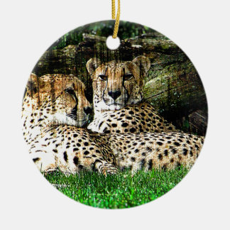 Cheetahs Grunge Effect Photo Christmas Ornament