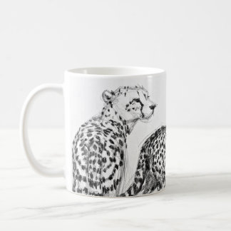 Cheetahs on the Savannah Wraparound Black & White Coffee Mug
