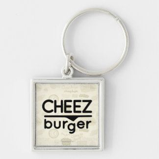 Cheezburger Logo (black) Silver-Colored Square Key Ring