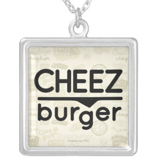 Cheezburger Logo (black) Silver Plated Necklace
