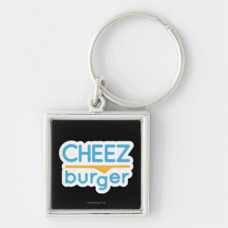 Cheezburger Logo (color) Silver-Colored Square Key Ring