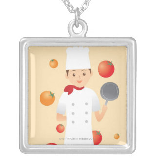 Chef 2 silver plated necklace