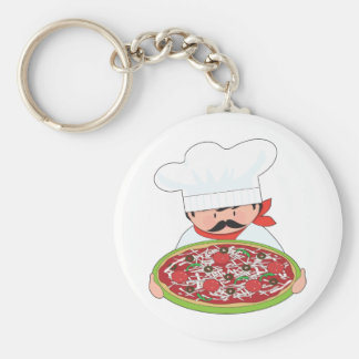 Chef and Pizza Basic Round Button Key Ring