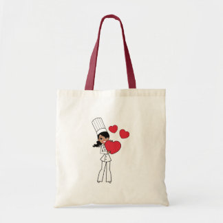Chef Baker Cook Cute Girl Illustration Budget Tote Bag