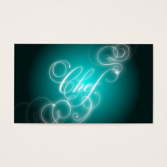 Chef Business Card Elegant Flourish Glow