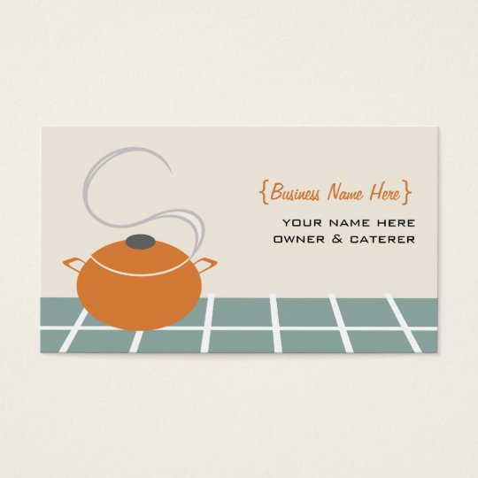 Chef / Caterer Business Card - Orange Cooking Pot