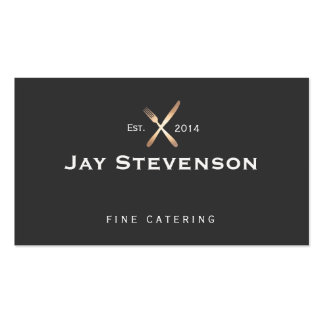 Chef, Catering Gold and Black Culinary Logo Pack Of Standard Business Cards