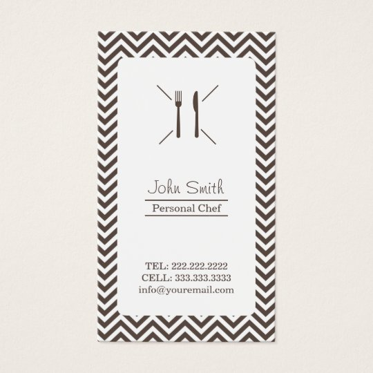 Chef Catering Plain Brown Chevron Stripes Business Card