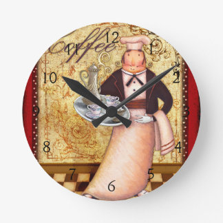 Chef Coffee Round Clock