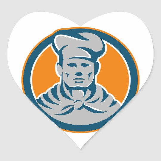 Chef Cook Baker Hat Circle Retro Heart Sticker