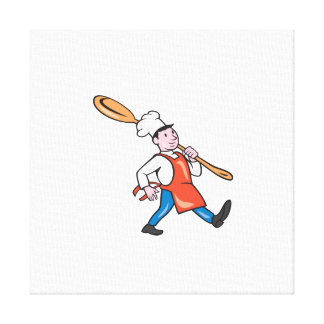 Chef Cook Marching Spoon Cartoon Gallery Wrapped Canvas