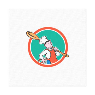 Chef Cook Marching Spoon Circle Cartoon Gallery Wrapped Canvas