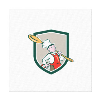Chef Cook Marching Spoon Shield Cartoon Canvas Prints