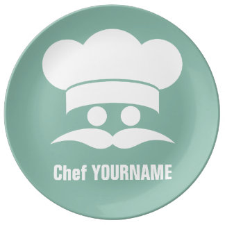 Chef custom color & text porcelain plate
