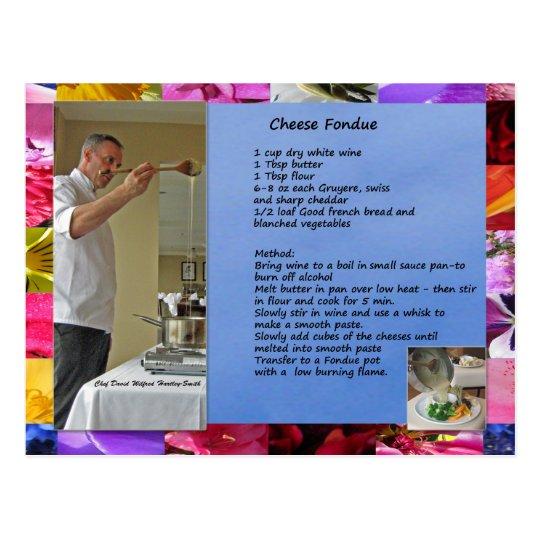 Chef David's Cheese Fondue Recipe Postcard