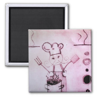 Chef Design Square Magnet