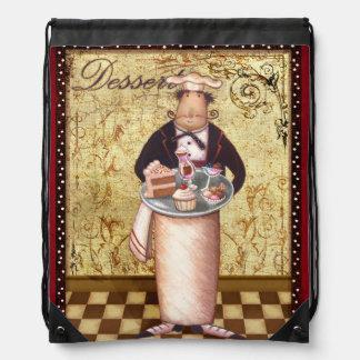 Chef Dessert Drawstring Backpacks